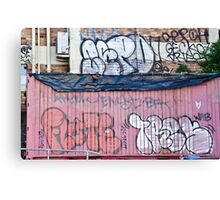 Abstract Graffiti in the grunge wall and sea container Canvas Print