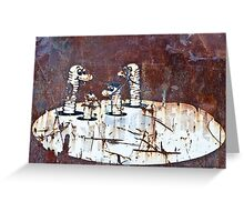 Worms Graffiti on the grunge rusty metal wall Greeting Card