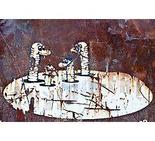 Worms Graffiti on the grunge rusty metal wall Photographic Print