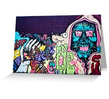 Jolly Hallucinogenic 1969 Graffiti with a Skull and the Others Greeting Card