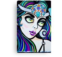 Jolly Hallucinogenic Graffiti with an Oriental Beauty Canvas Print