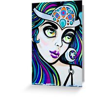Jolly Hallucinogenic Graffiti with an Oriental Beauty Greeting Card