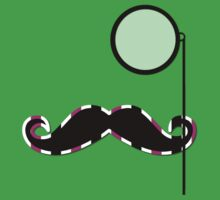 Moustache, Monocle, Dots, Stripes - Green Pink Baby Tee