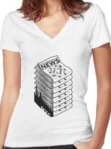 New York New York Women's Fitted V-Neck T-Shirt