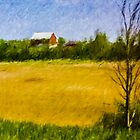 Wheat Field with Red Barn by Wib Dawson