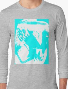 Abstract brush face - blue Long Sleeve T-Shirt