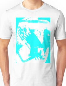 Abstract brush face - blue Unisex T-Shirt
