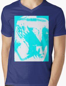 Abstract brush face - blue Mens V-Neck T-Shirt