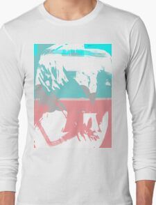 Abstract brush face - blue/pink Long Sleeve T-Shirt