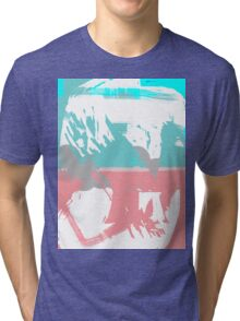 Abstract brush face - blue/pink Tri-blend T-Shirt
