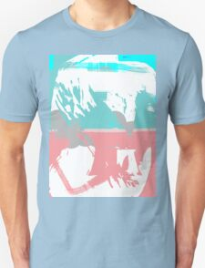 Abstract brush face - blue/pink Unisex T-Shirt