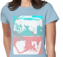 Abstract brush face - blue/pink Womens Fitted T-Shirt