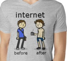 Internet. Before and After Mens V-Neck T-Shirt