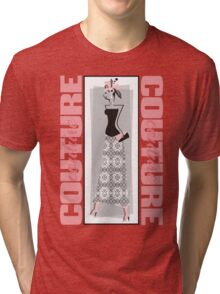 haute couture retro high fashion crazy hat Tri-blend T-Shirt