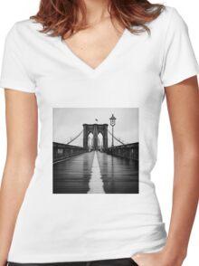 Brooklyn Bridge In Rain Women's Fitted V-Neck T-Shirt