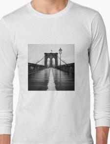 Brooklyn Bridge In Rain Long Sleeve T-Shirt