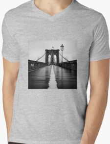 Brooklyn Bridge In Rain Mens V-Neck T-Shirt