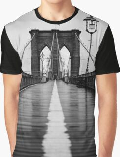 Brooklyn Bridge In Rain Graphic T-Shirt