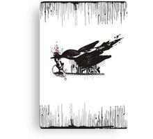 Art word black dripping bird knights sword Canvas Print