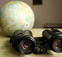Binoculars and Globe by slavikostadinov