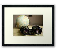 Binoculars and Globe Framed Print