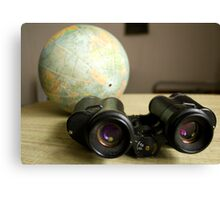 Binoculars and Globe Canvas Print