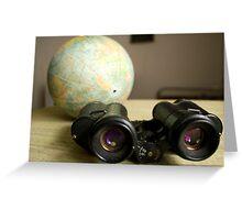 Binoculars and Globe Greeting Card