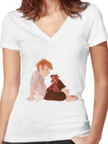 Bilbo and Smaug Women's Fitted V-Neck T-Shirt