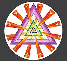 Sacred Geometry - Full-Color Print, Grey Background by TheMandalaLady