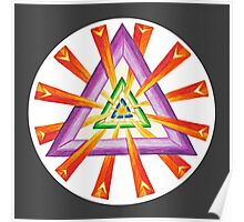 Sacred Geometry - Full-Color Print, Grey Background Poster