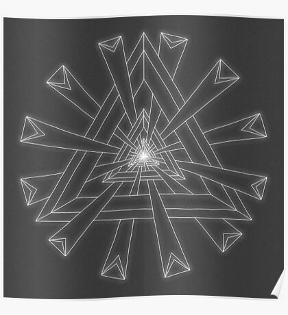 Sacred Geometry - White on Dk Grey Print Poster
