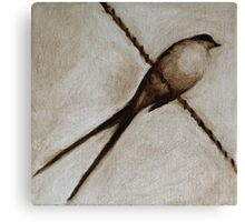 Bird on a wire painting Canvas Print