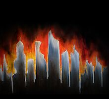 """Burning City"" Painting iPhone Case by Keith Miller"