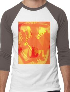 Abstract brush face - orange Men's Baseball ¾ T-Shirt