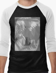 Abstract brush face - grey Men's Baseball ¾ T-Shirt