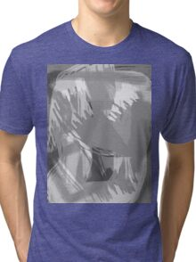 Abstract brush face - grey Tri-blend T-Shirt