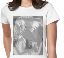 Abstract brush face - grey Womens Fitted T-Shirt