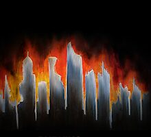 """Burning City"" Painting iPhone Case (Branded, NOT for iPod Touch) by Keith Miller"