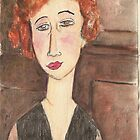 Watercolour study - Portrait of a women by Modigliani by Gary Shaw