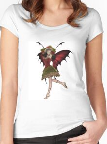 Christmas Fairy Elf Girl Women's Fitted Scoop T-Shirt