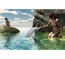 Elf girls and Dolphin Photographic Print