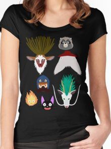 Ghibli characters ~ 2 Women's Fitted Scoop T-Shirt