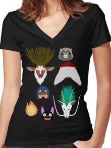 Ghibli characters ~ 2 Women's Fitted V-Neck T-Shirt