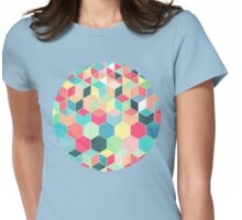 Yummy Summer Colour Honeycomb Pattern Womens Fitted T-Shirt