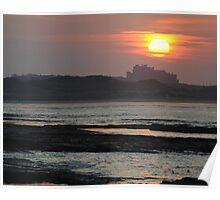 Sunset Over Bamburgh Castle Poster