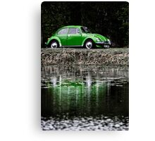 Green VW Beetle Canvas Print