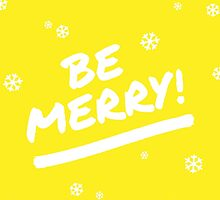 Bright Yellow Be Merry Marker Pen Font Christmas Snowflakes by itsjensworld