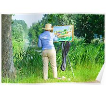 Paintress of Flemish summer landscape at work in the field Poster