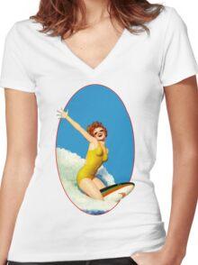 Vintage Surfer Women's Fitted V-Neck T-Shirt