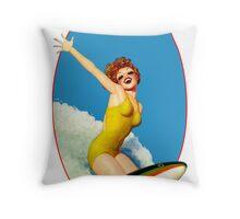 Vintage Surfer Throw Pillow